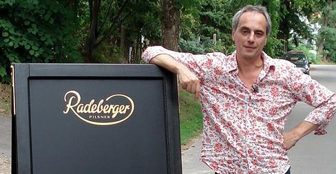 Christian Rach mit Bockstaender von Koslitz-Werbung